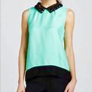 Kate Spade harlow color-block Aqua top, 0